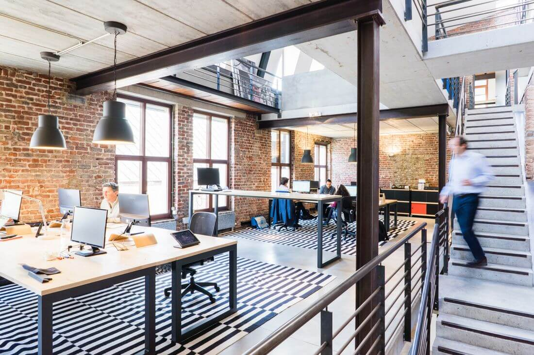 Multi-level industrial-style loft office with Open Space
