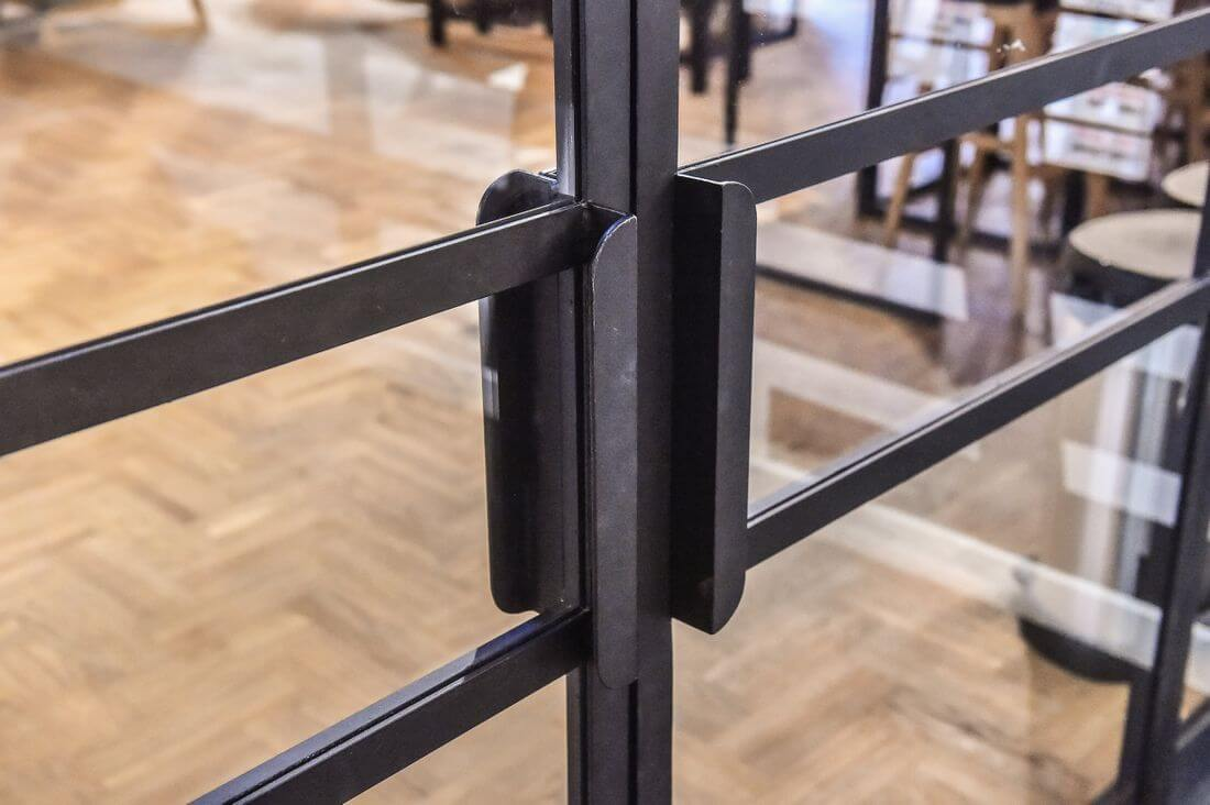 Loft doors and handle for opening industrial doors in Adidas Runners Warsaw