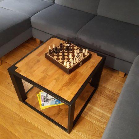 Stolik Kawowy Loft Kwadratowy K3 buk na czterech nogach olej naturalny czarne ramy proszkowane półka pozioma