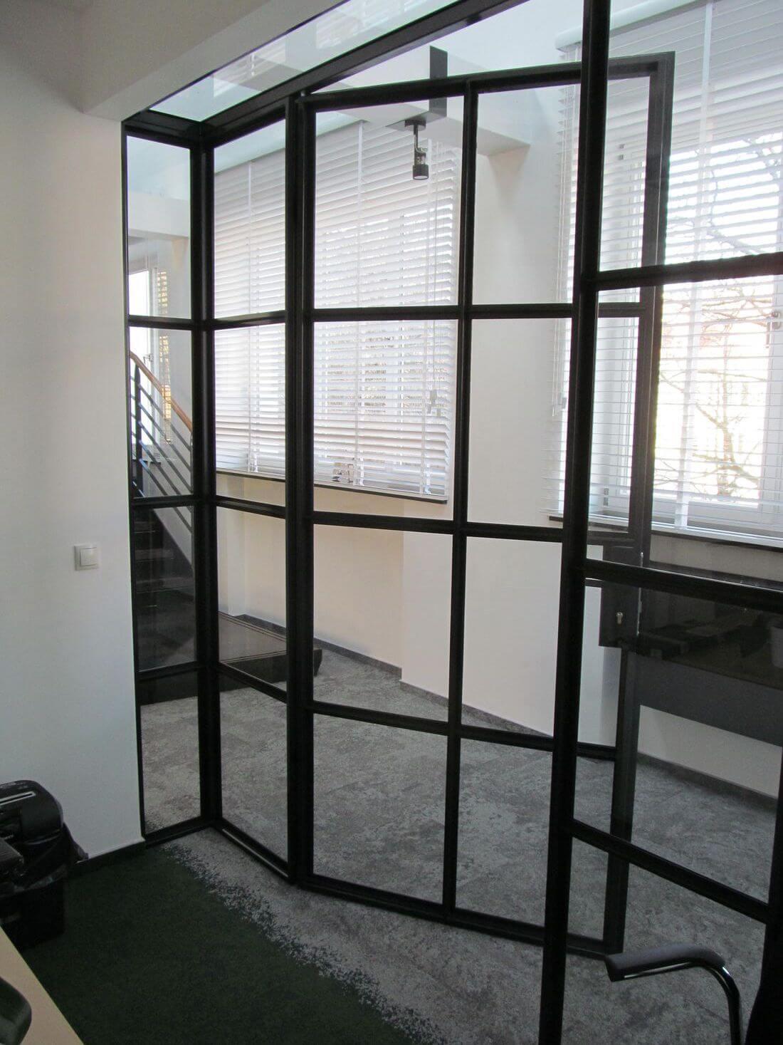 EIP Industrialny Loft System Drzwi i Ścianek Loftowych wewnętrznych ze wzmacnianego szkła i stali konstrukcyjnej