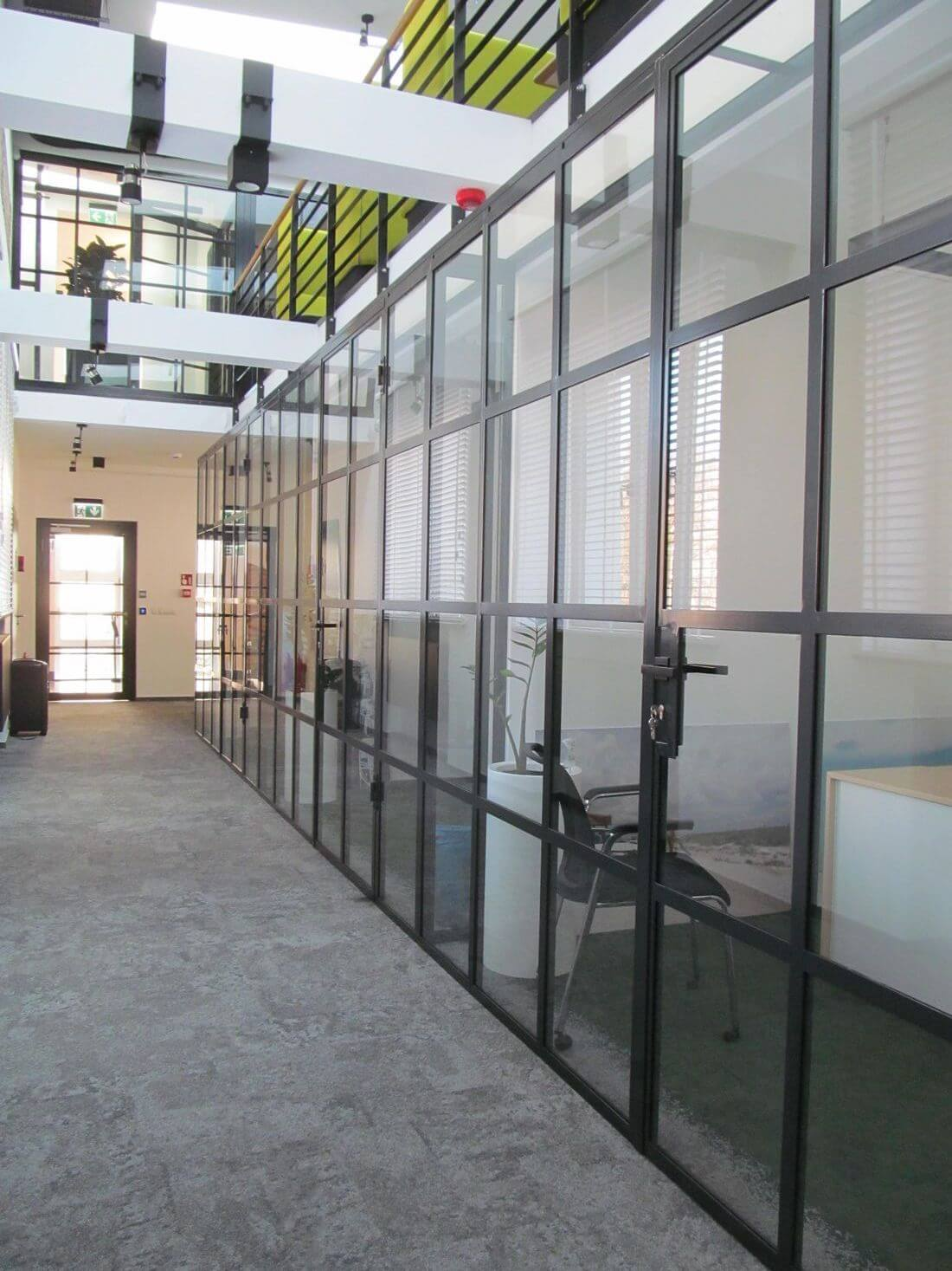 Loft Door and Loft Wall System in industrial style in reinforced glass and structural steel