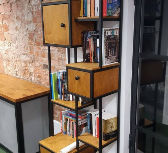 Loft Bookshelf R1 Industrial tall, structural steel, oak wood painted black in fine structure style