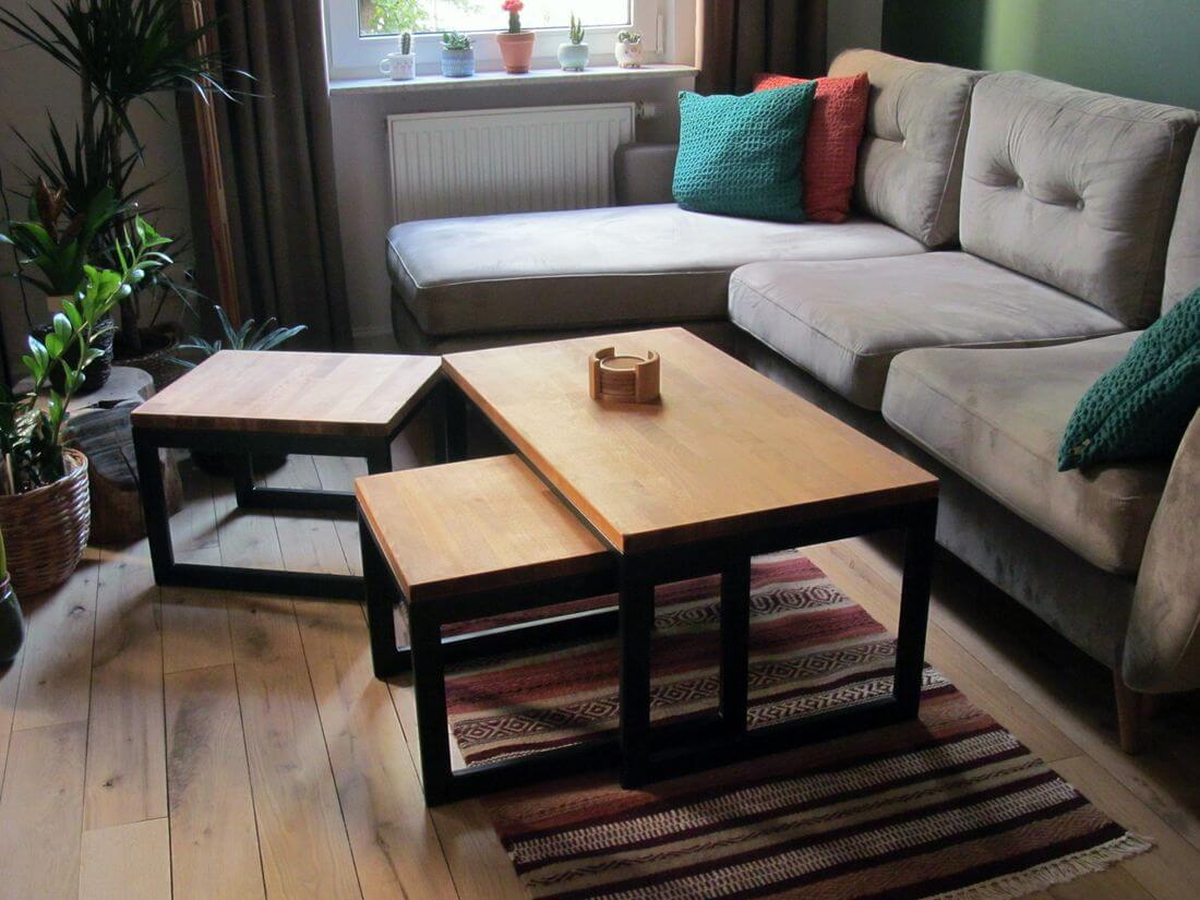 Ława Kawowa ze stolikami kawowymi z metalu (stal konstrukcyjna) i drewna (dąb olejowany klejony) do salonu