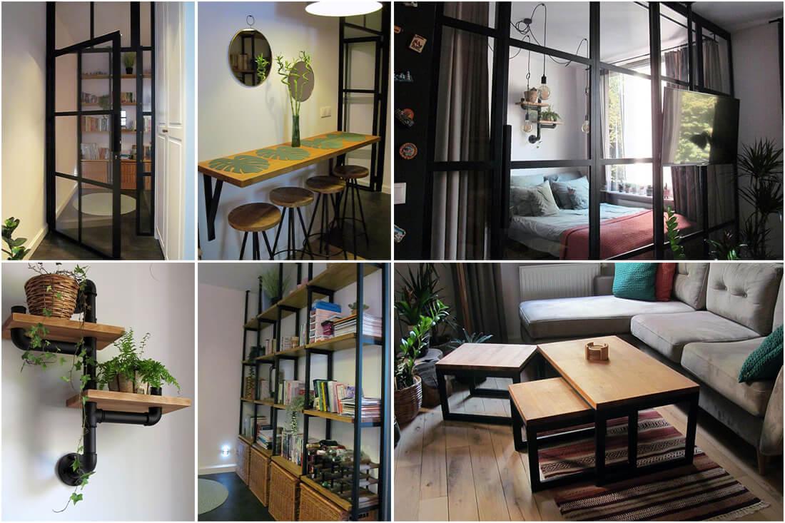 Mieszkanie Loft - Warszawa Praga – Drzwi loftowe przesuwne i zestaw dedykowanych mebli industrialnych