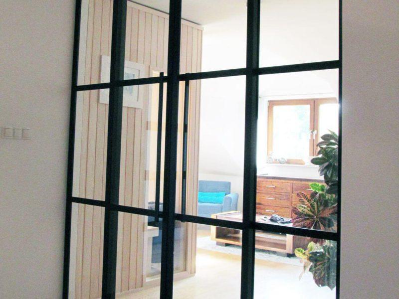 Drzwi Loftowe Przesuwne na wymiar ze stali konstrukcyjnej wykonane w industrialnym stylu na prywatne zamówienie