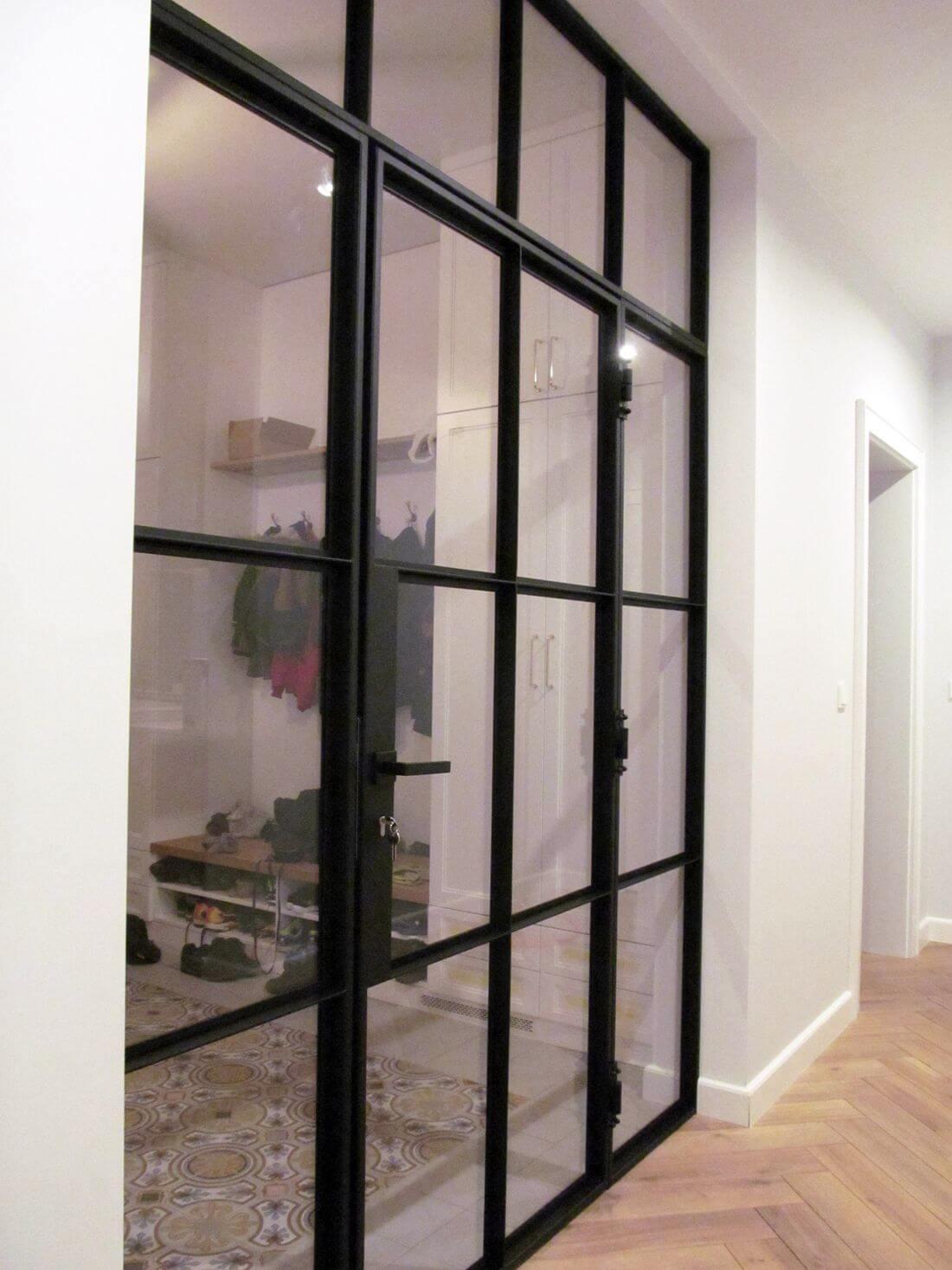 Glass Swing Loft Doors with Loft Walls - view from corridor to closed door