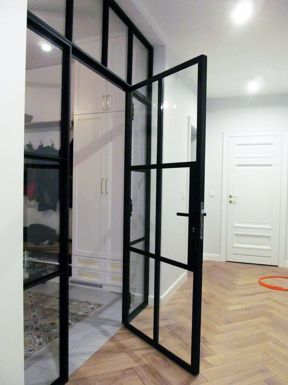 Glass Swing Loft Doors with Loft Walls - view from corridor to open closed door