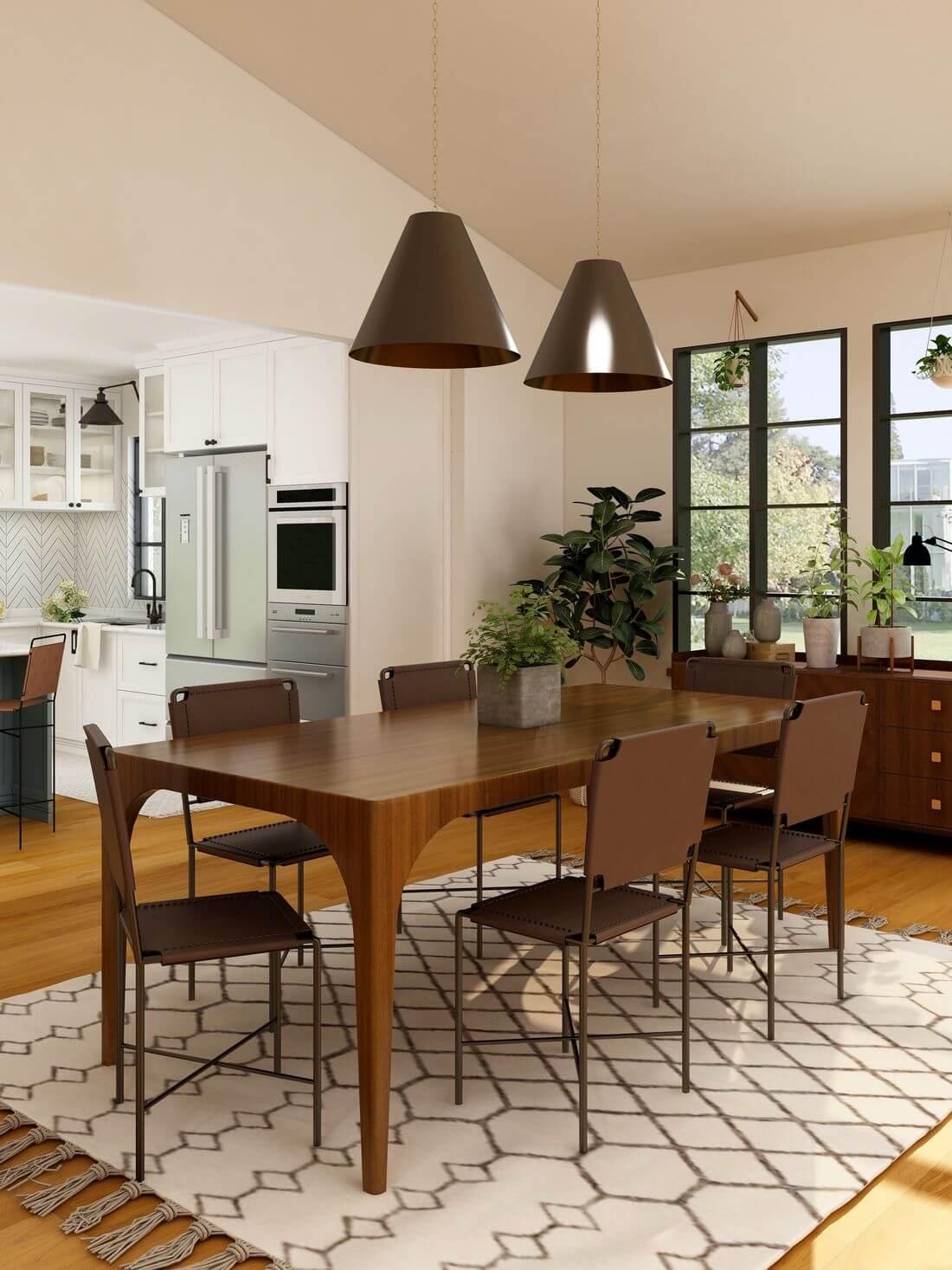 Industrialny drewniany brązowy stół w kuchni loftowej z brązowymi krzesłami oraz wiszącymi lampami